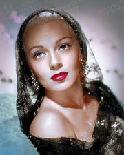 Lana Turner Lace Shawl 1946 | Hollywood Pinups | Film Star Colour and B&W Prints