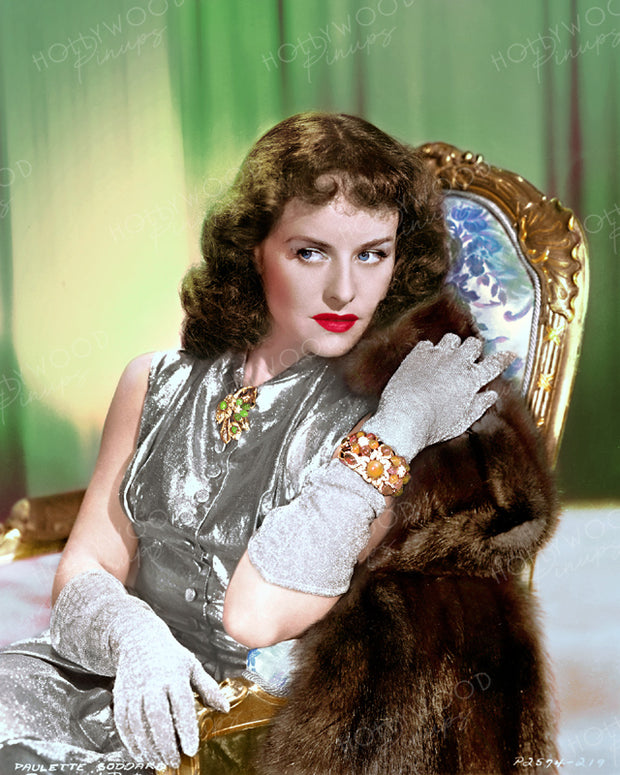 Paulette Goddard Glitzy Glamour 1940 | Hollywood Pinups | Film Star Colour and B&W Prints