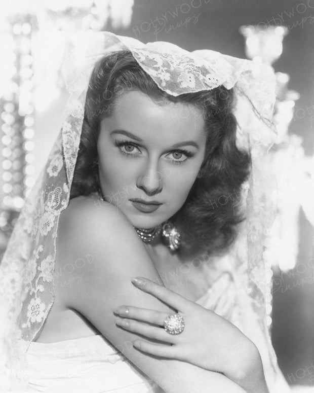 Rhonda Fleming Lace Veil 1946 | Hollywood Pinups | Film Star Colour and B&W Prints
