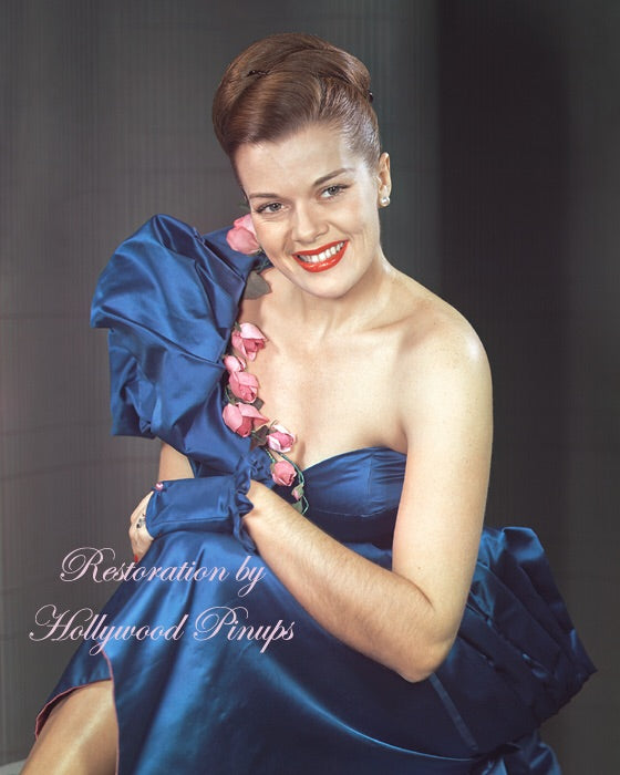 Janis Paige Blue Satin 1949 | Hollywood Pinups | Film Star Colour and B&W Prints