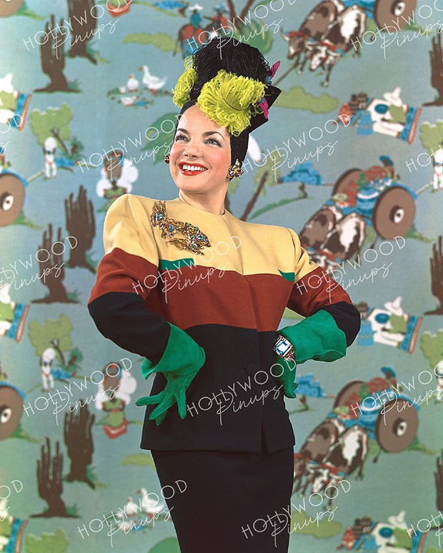 Carmen Miranda Colorful Suit 1942 | Hollywood Pinups | Film Star Colour and B&W Prints
