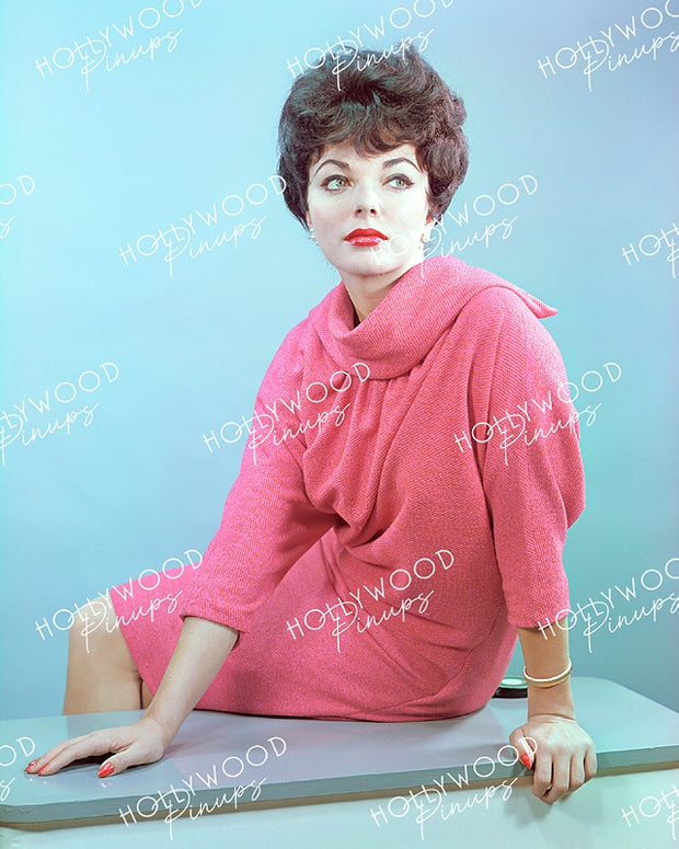Joan Collins Coral Pink 1958| Hollywood Pinups | Film Star Color and B&W Prints