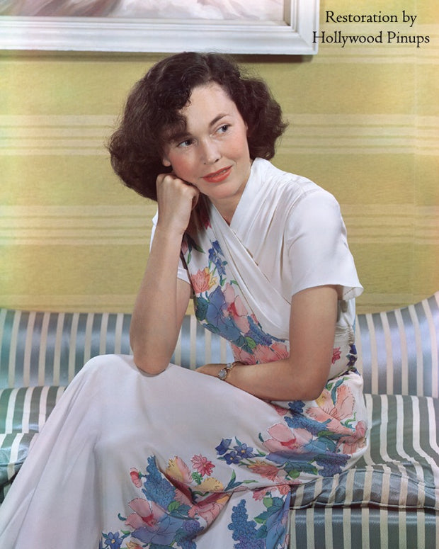 Maureen O'Sullivan Floral Print 1941 | Hollywood Pinups | Film Star Colour and B&W Prints