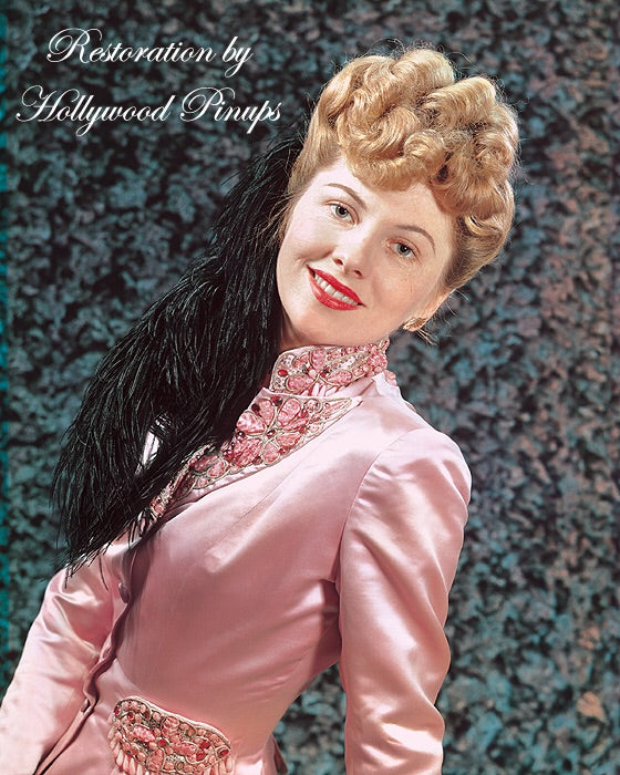 Joan Fontaine Satin Pink 1942 | Hollywood Pinups | Film Star Colour and B&W Prints