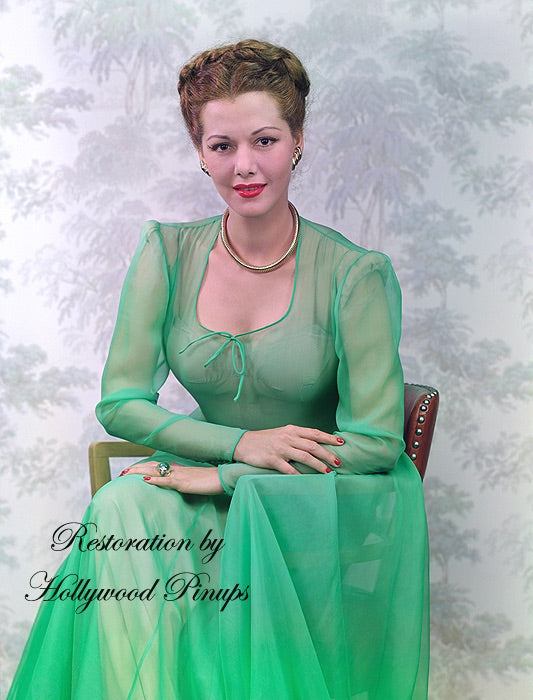María Montez Emerald Dress 1944 | Hollywood Pinups | Film Star Colour and B&W Prints
