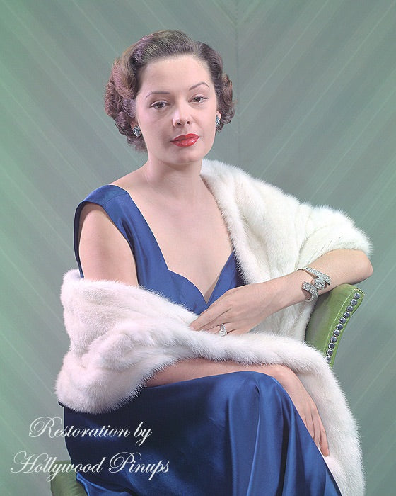 Jane Greer Blue Satin 1948 | Hollywood Pinups | Film Star Colour and B&W Prints