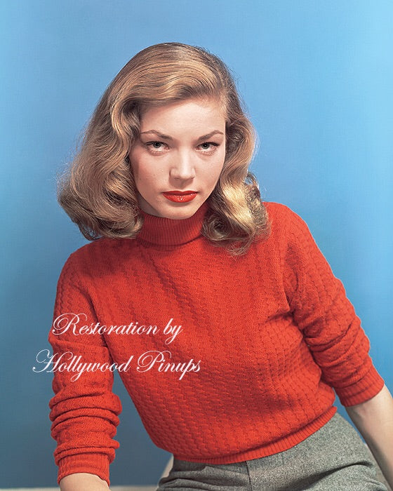 Lauren Bacall Sweater Girl 1944 | Hollywood Pinups | Film Star Colour and B&W Prints