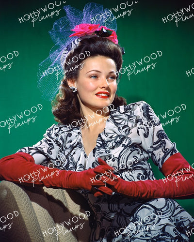 Gene Tierney Gloved Glamour 1942 KODACHROME | Hollywood Pinups Color Prints