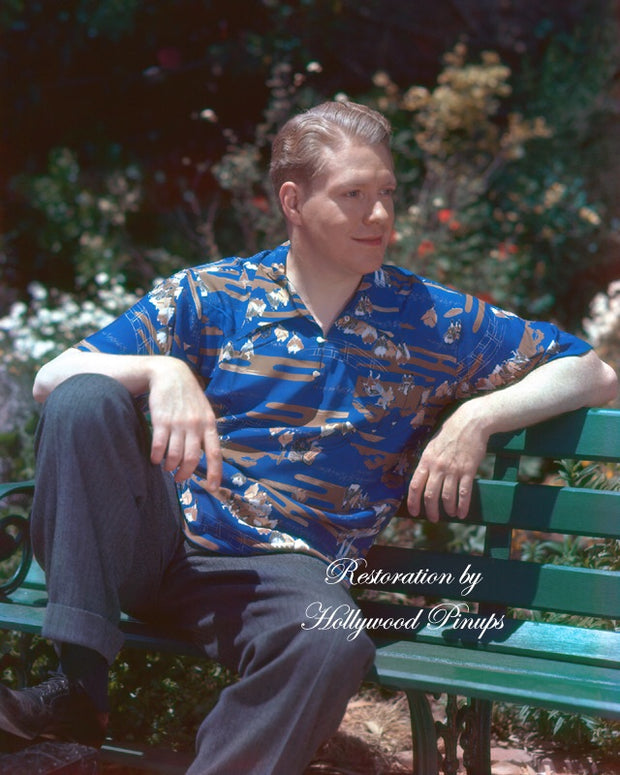 Nelson Eddy Park Bench 1938 | Hollywood Pinups | Film Star Colour and B&W Prints