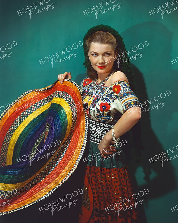 Anne Baxter Colorful Sombrero 1944 KODACHROME - NEW ! | Hollywood Pinups | Film Star Colour and B&W Prints