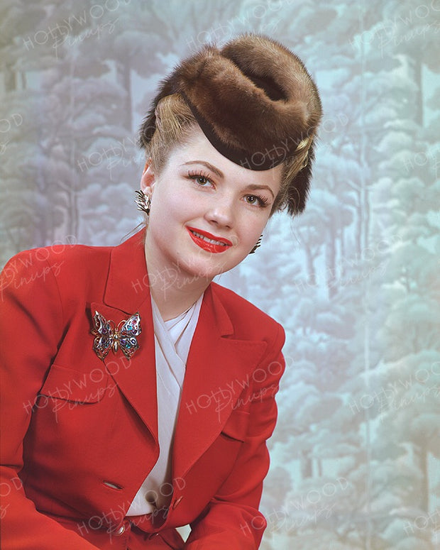 Anne Baxter Butterfly Brooch 1944 | Hollywood Pinups | Film Star Colour and B&W Prints