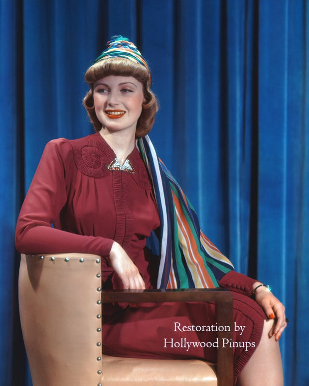 June Lang Rainbow Turban 1938 | Hollywood Pinups | Film Star Colour and B&W Prints