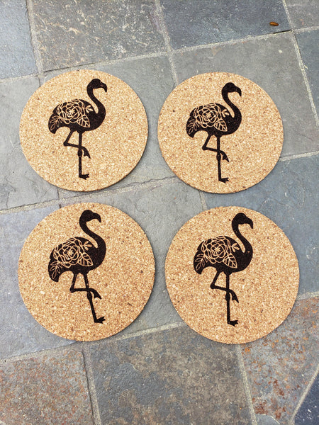 Set of 4 Flamingo Engraved Cork Coasters - Drifting Purpose