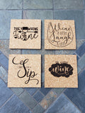 Set of 4 - Fun Wine Coasters