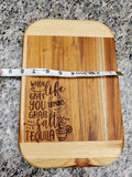 When Life Gives you Lemons, Grab Salt and Tequila Teak Wood Cutting Board