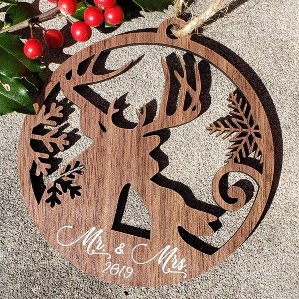 Mr and Mrs Kissing Deer Wood Ornament, Mr and Mrs Ornament - Drifting Purpose