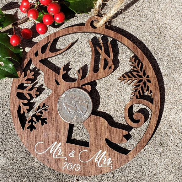 Mr and Mrs Kissing Deer Wood Ornament, Mr and Mrs Ornament