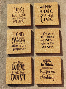 Set of 6 Cork Coasters with Wine Sayings