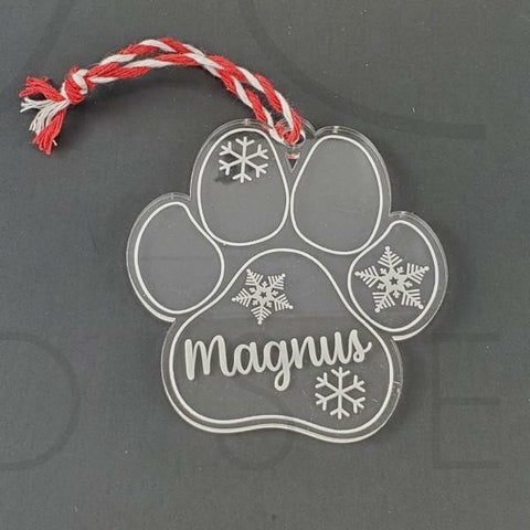 Acrylic Paw Print Holiday Ornament - Drifting Purpose