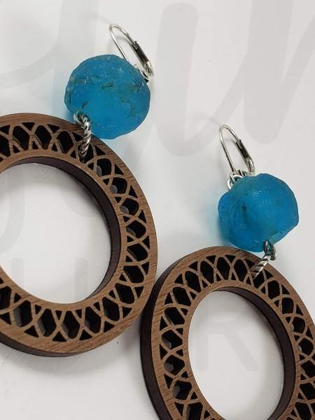 Engraved Wooden Circle Earring with Teal Reycled Glass Bead Accent