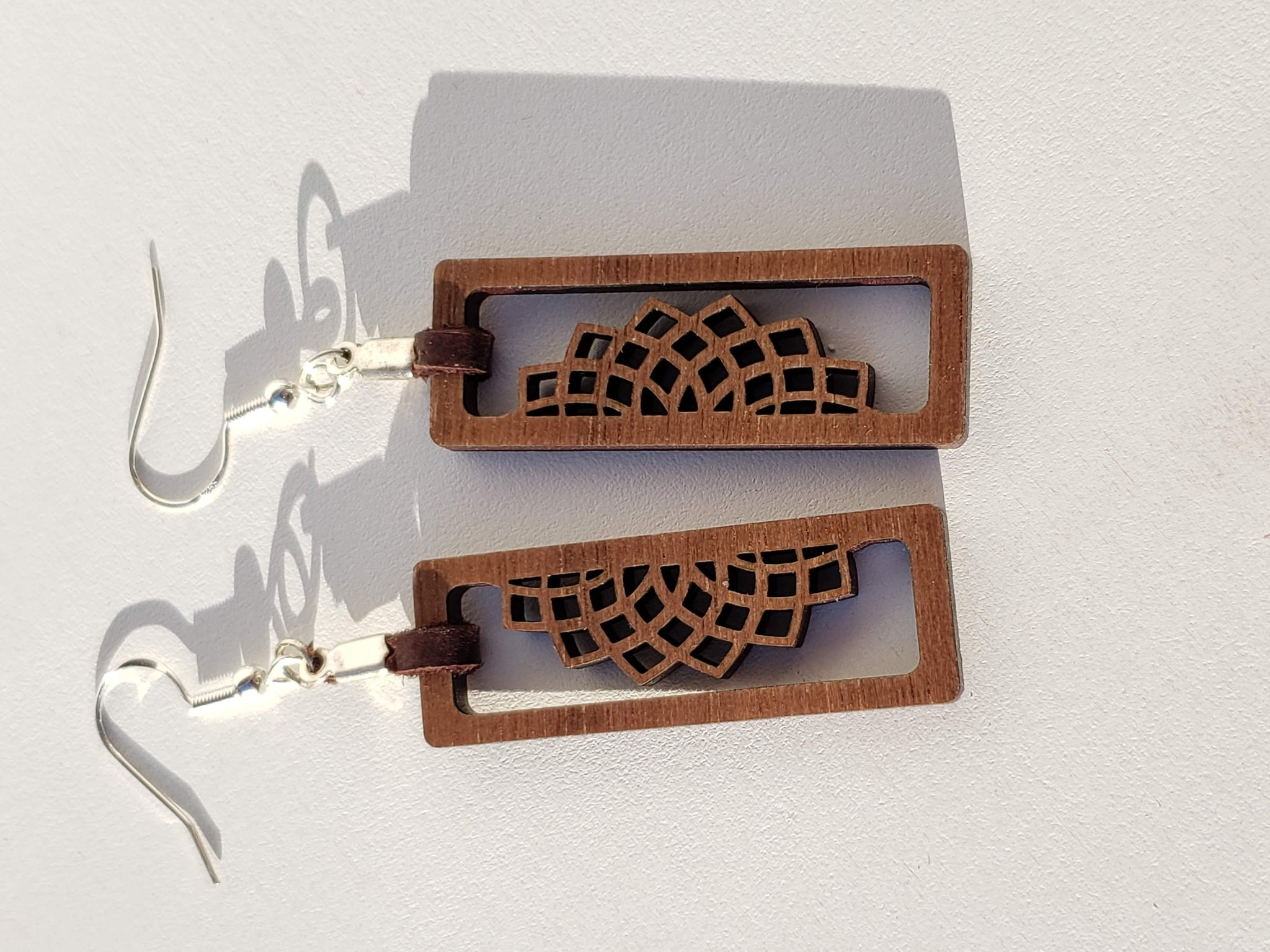 Filigree Style Walnut Wood Earrings with Deer Skin Lace Accent