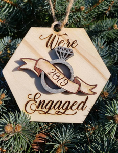 Personalized We're Engaged Wood Oranment