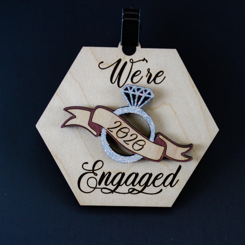 Personalized We're Engaged Wood Christmas Ornament