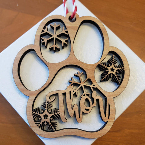 Wooden Paw Print Holiday Ornament - Drifting Purpose