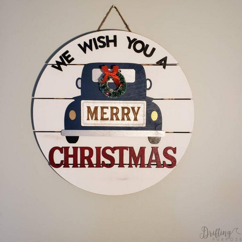 Merry Christmas Blue Farm Truck Sign