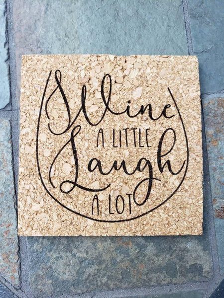Set of 4 Wine themed Engraved Cork Coasters - Drifting Purpose