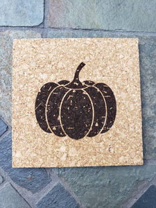 Set of 4 Fall and Pumpkin themed Cork Coasters
