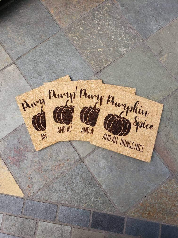 Pumpkin Spice and All Things Nice Cork Coasters, Fall Themed Coasters
