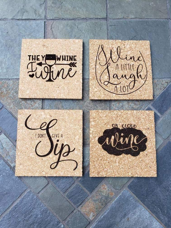Set of 4 Wine themed Engraved Cork Coasters
