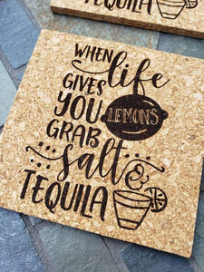 When Life gives you Lemons Grab Salt and Tequila Cork Coasters Set of 4 - Drifting Purpose