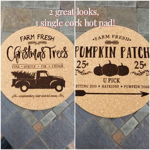 Cork Hot Pad Christmas & Fall - Drifting Purpose
