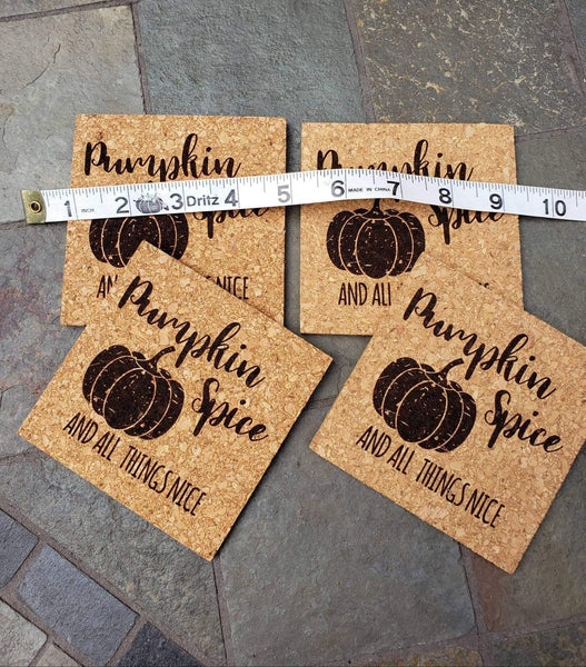 Pumpkin Spice and All Things Nice Cork Coasters
