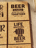 Set of 4 Beer themed Engraved Cork Coasters