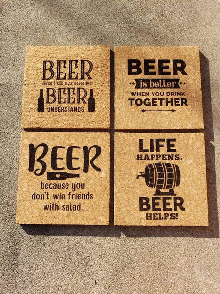 Set of 4 Beer themed Cork Coasters - Drifting Purpose