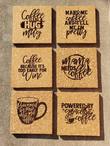 Set of 6 Coffee themed Cork Coasters - Drifting Purpose