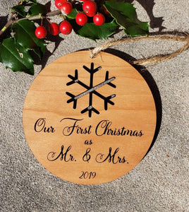 Mr and Mrs Snowflake Wood Ornament, Personalized Mr and Mrs Ornament