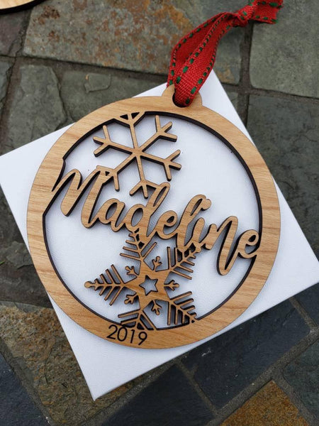 Custom Name or Family Name Ornaments with Snowflakes - Drifting Purpose