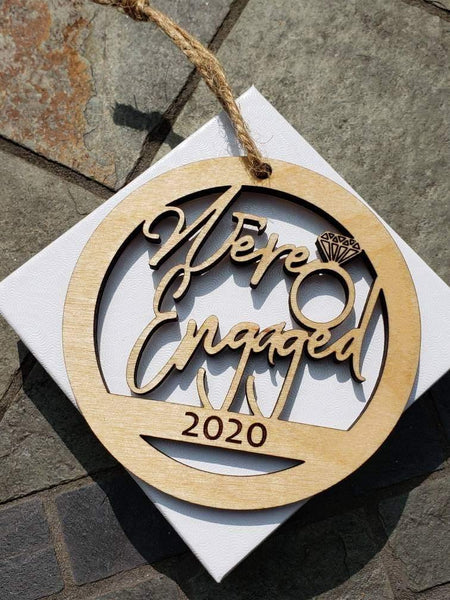 Personalized We're Engaged Wood Christmas Ornament - Drifting Purpose