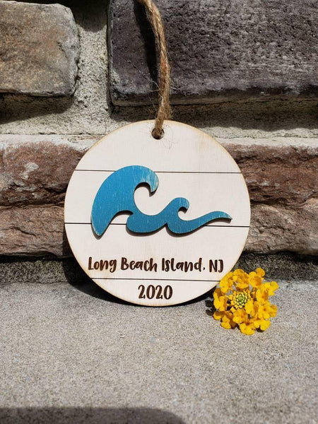 LBI Shiplap Ornament with Wave - Drifting Purpose