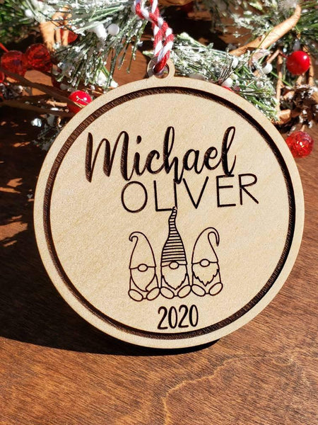 Wooden Personalized Gnome Name Ornament - Drifting Purpose
