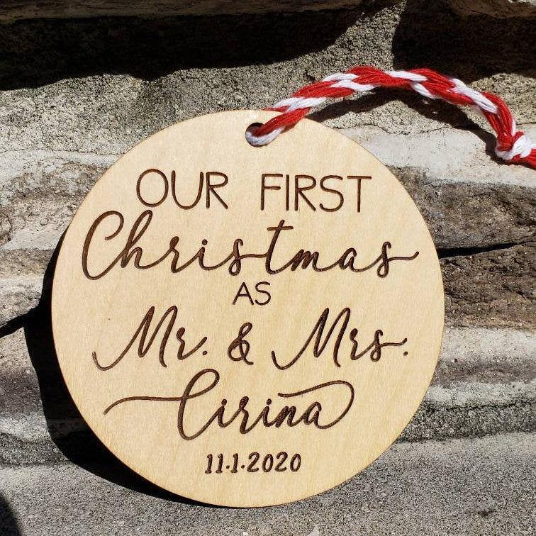 Personalized Our First Christmas as Mr and Mrs - Drifting Purpose