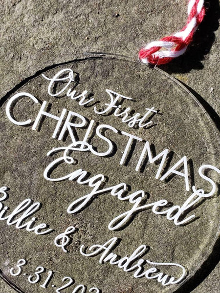 Personalized Our First Christmas Engaged Ornament - Drifting Purpose