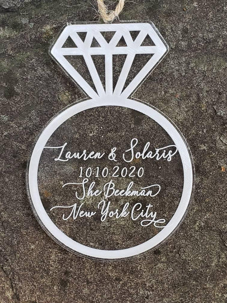 Personalized We're Engaged Christmas Ornament - Drifting Purpose