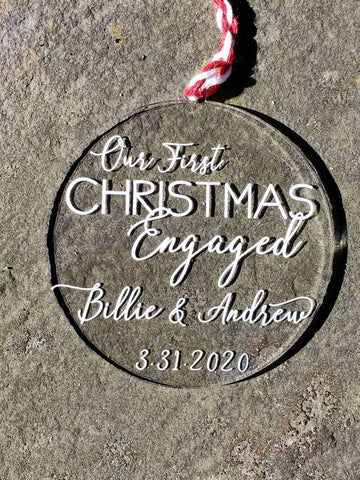Personalized Our First Christmas Engaged Ornament