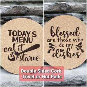 Foodie Gift Double sided Cork Hot Pad or Trivet