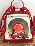 Amor exotico shiny red Frida Kahlo back pack